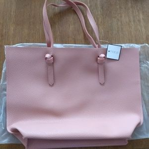 Macy's Pink Peach Knot Handle Purse Faux Leather